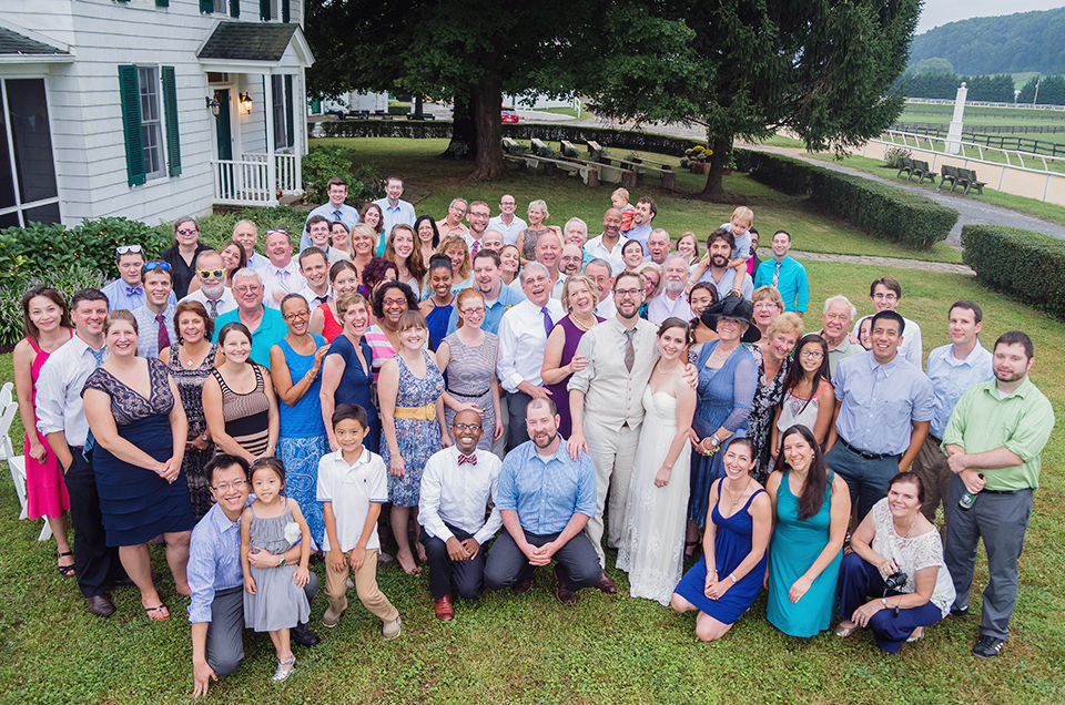 Group wedding photo at Merryland farm in Baltimore