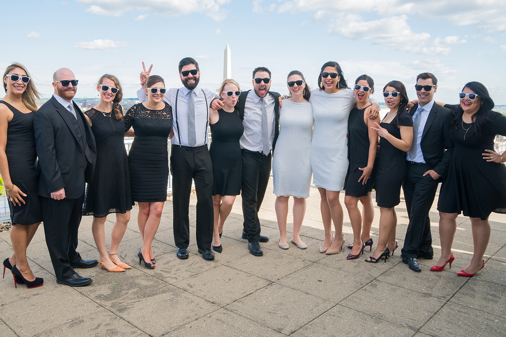 Bridal party on a DC rooftop wedding photos