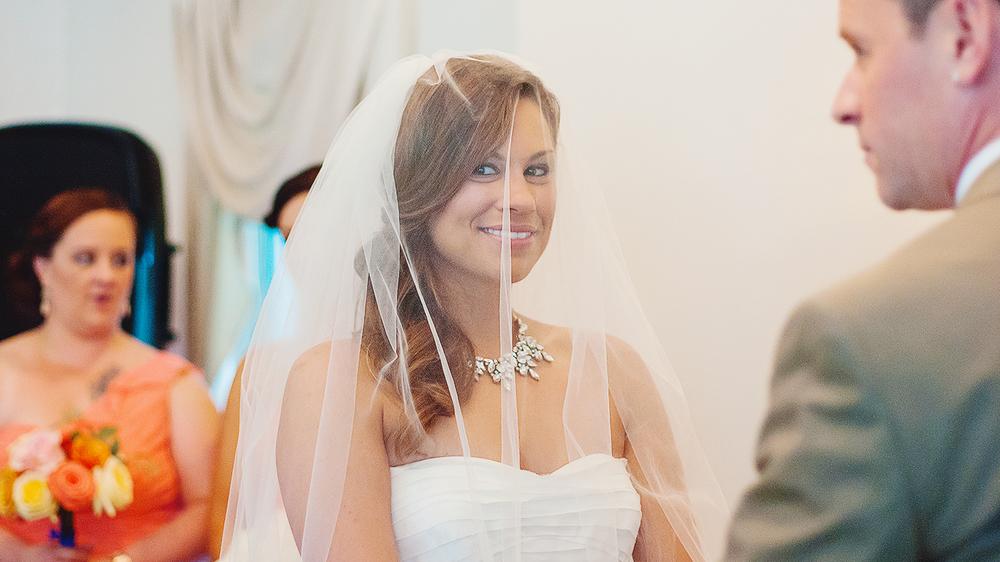 Bride and groom indoor wedding ceremony at Ceresville Mansion