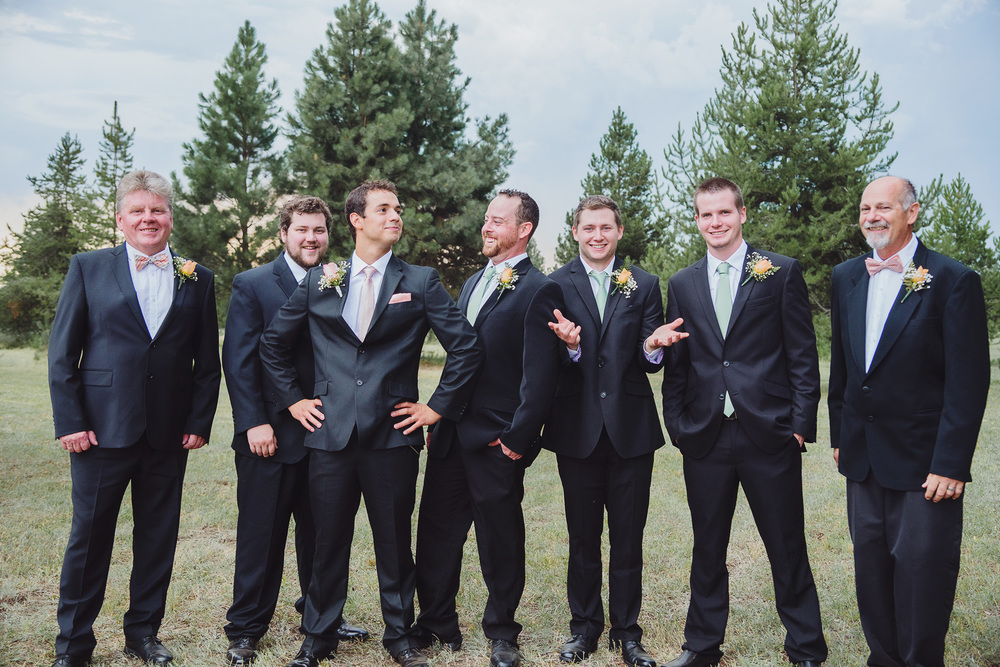 Group photos at backyard DIY Athol Idaho wedding