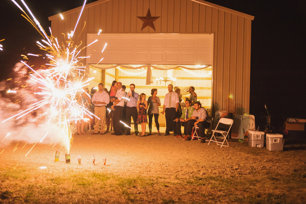 Sparkler firework firecracker exit at Athol Idaho barn wedding