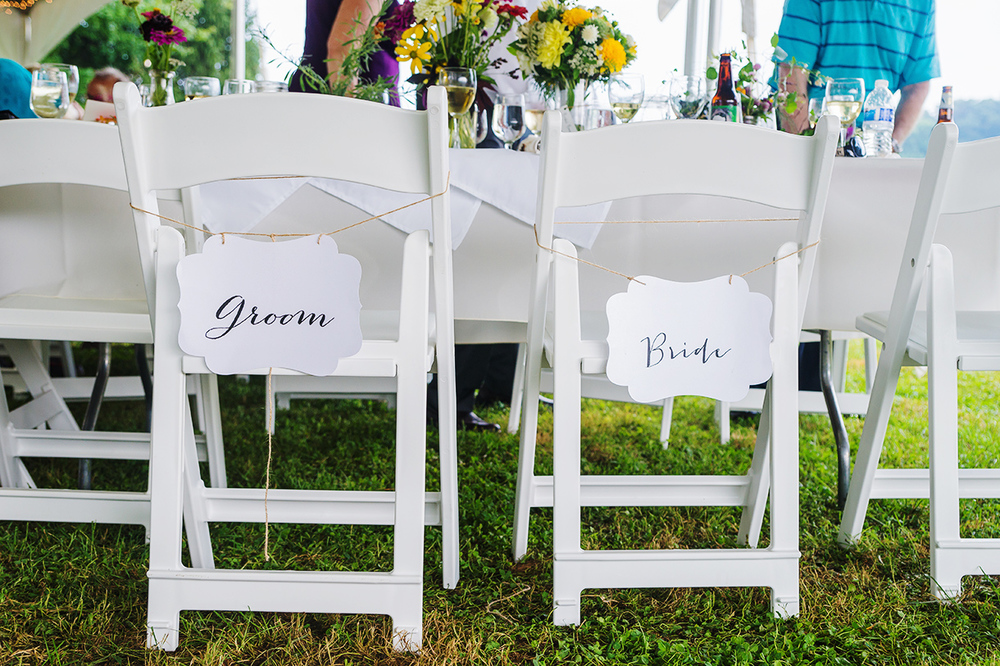 Maryland wedding farm bride and groom DIY chair signs