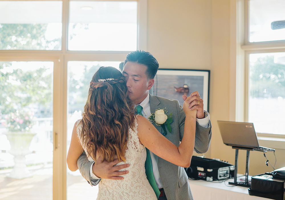 Bride and groom first dance at Oyster Cove in Annapolis