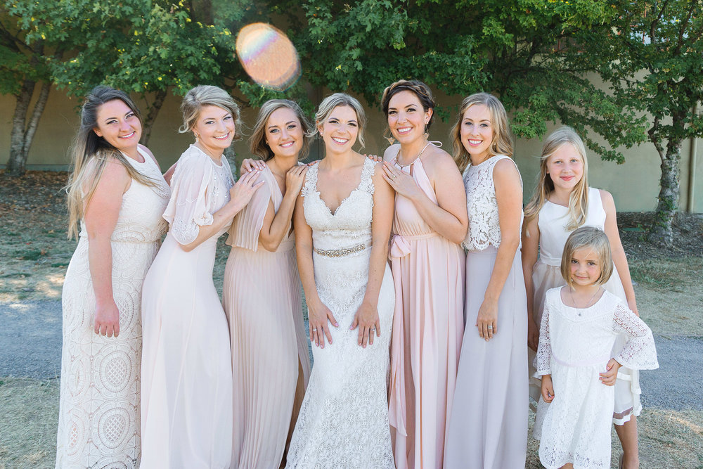 Bridesmaids in BHLDN in seattle wedding photography