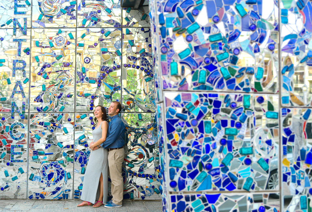 Baltimore American Visionary Museum engagement session with blue wall