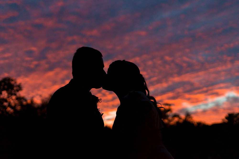 Bride and groom silhouette at The Bolger Center in Potomac Maryland