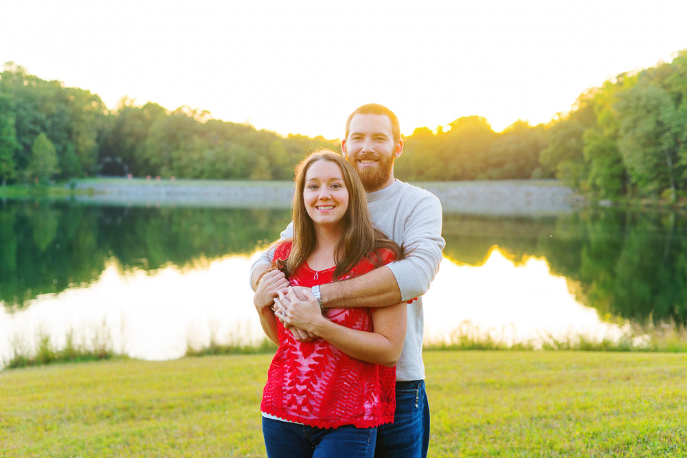 Sunset lake engagement photos in maryland at Seneca Creek State Park by jessica nazarova
