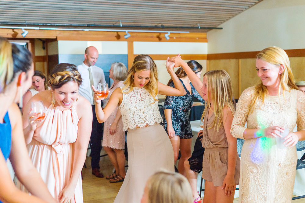 Bridesmaids on the dance floor at awesome Seattle wedding