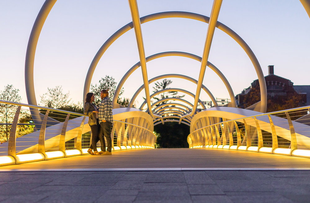 Navy Yard bride engagement session at night and sunset