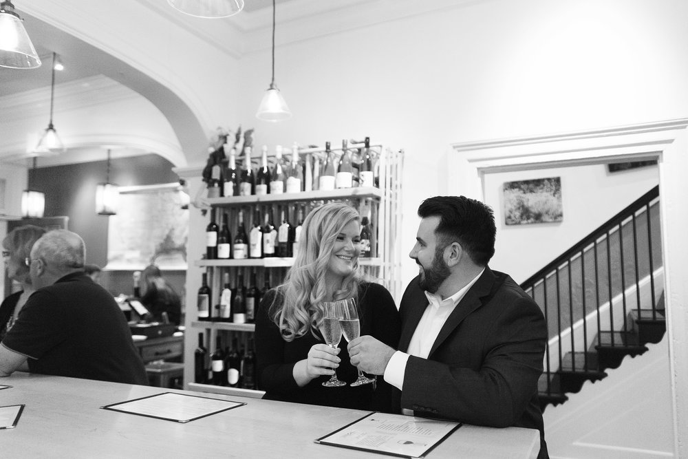 date night wine bar engagement photos