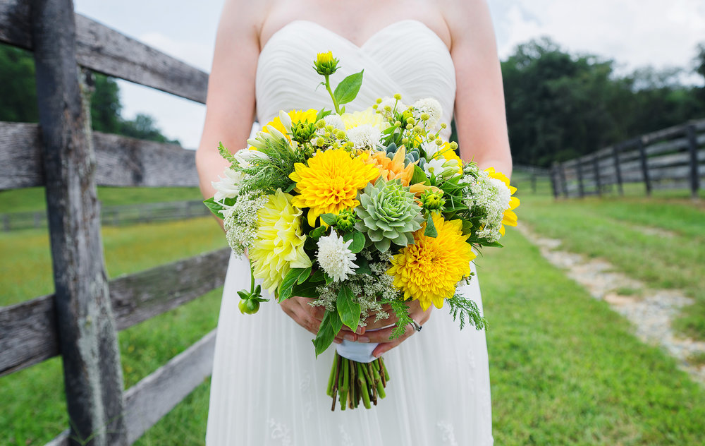 Succulent and dahlia bouquet at baltimore wedding photos