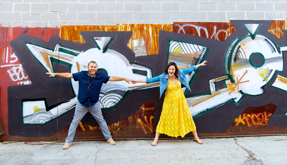 Engagement session with graffiti photography in washington dc