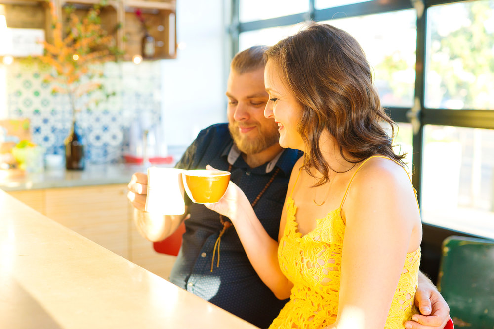 Washington DC coffee shop engagement photos at Dolcezza