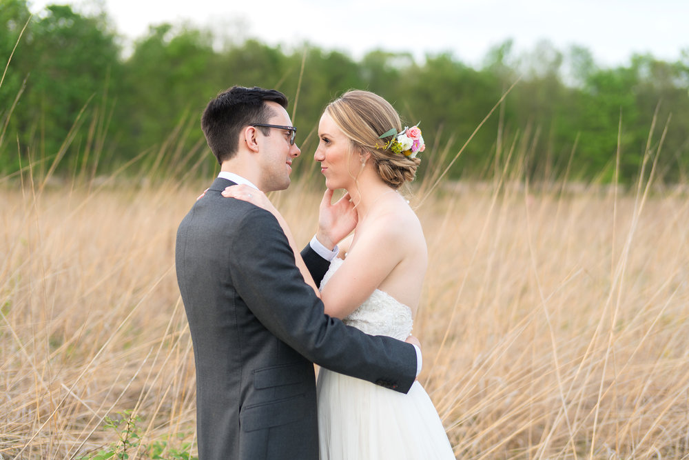 Sunset wedding photos at irvine Nature center