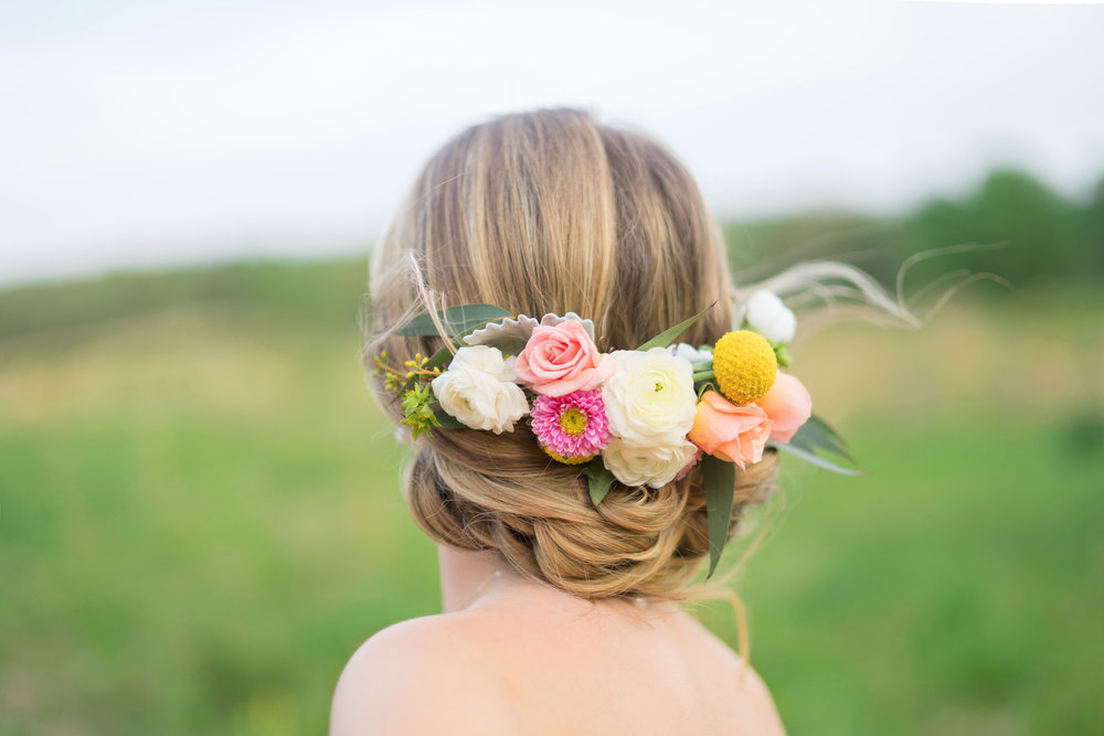 Gorgeous craspedia flower crown and braid wedding hair