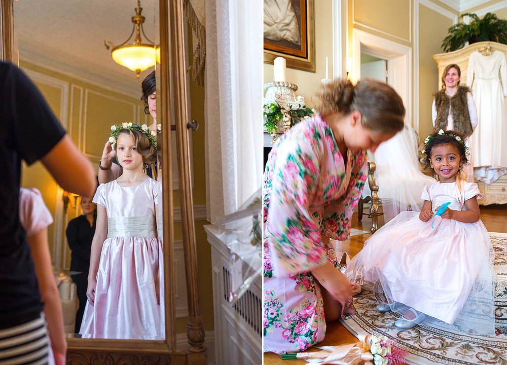 Flower girls in bridal suite at Oxon Hill Manor in Virginia