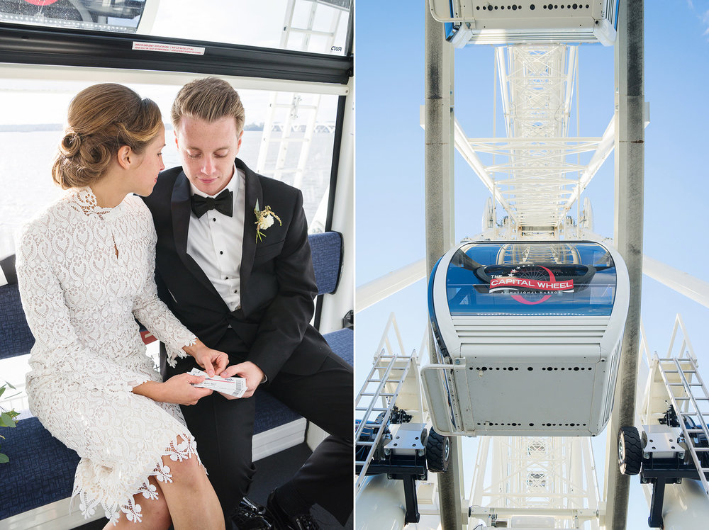 National harbor bride and groom photos in ferris wheel