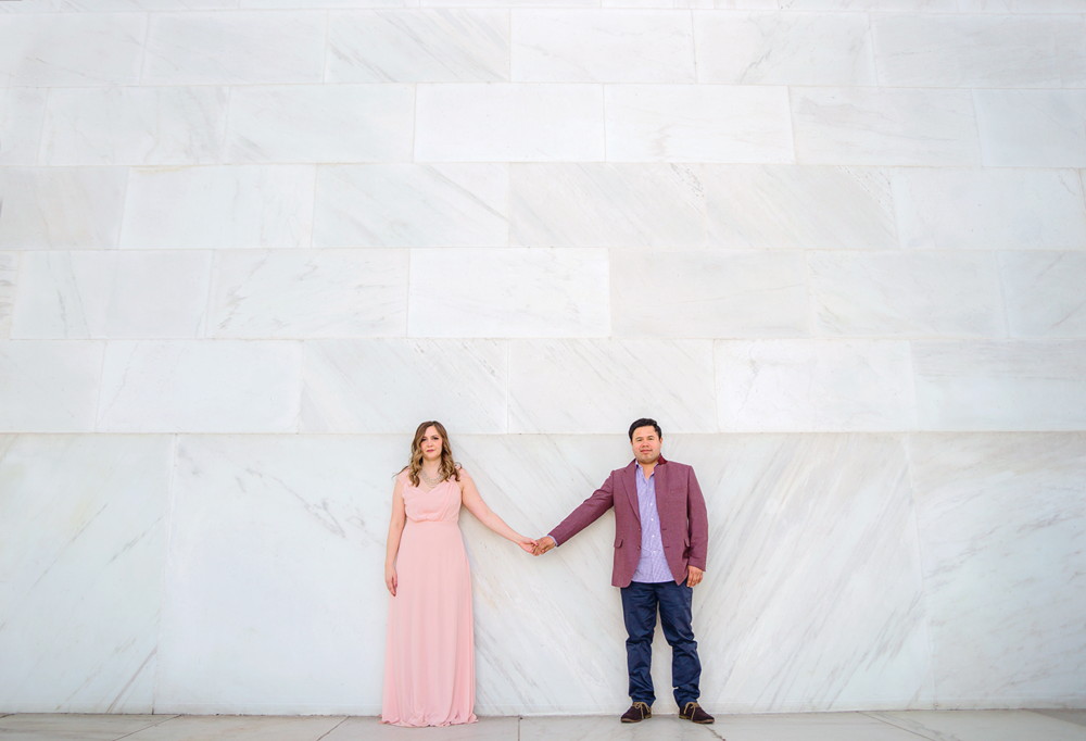 Washington DC cherry blossoms and monuments engagement photos