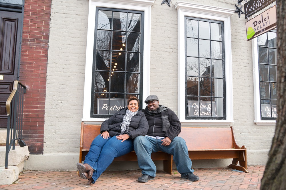 Old Towne Alexandria gelato shop engagement photos