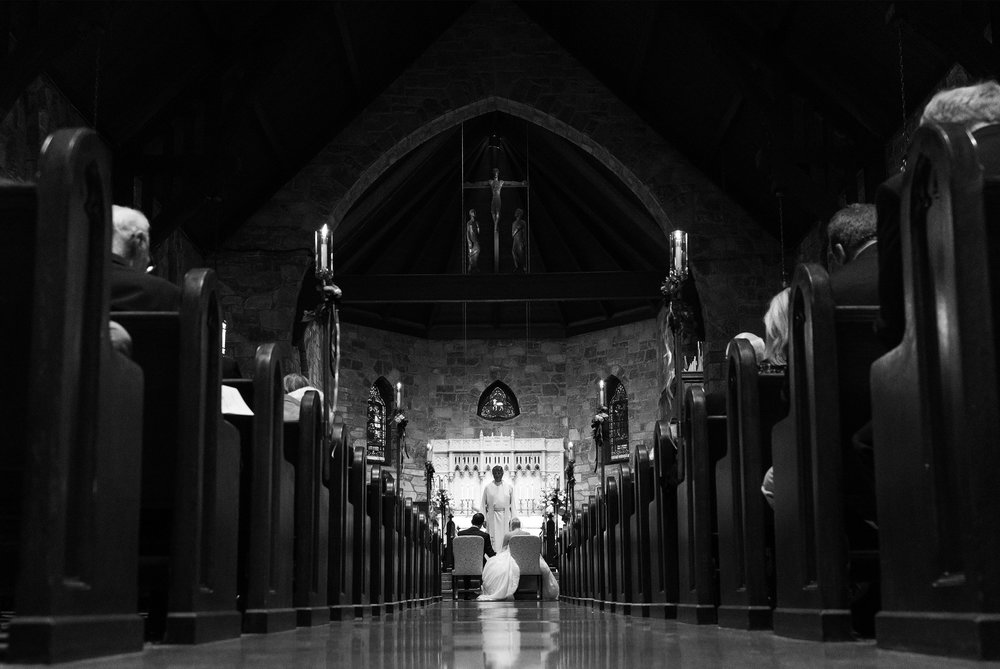 Black and white cathedral wedding in washington dc