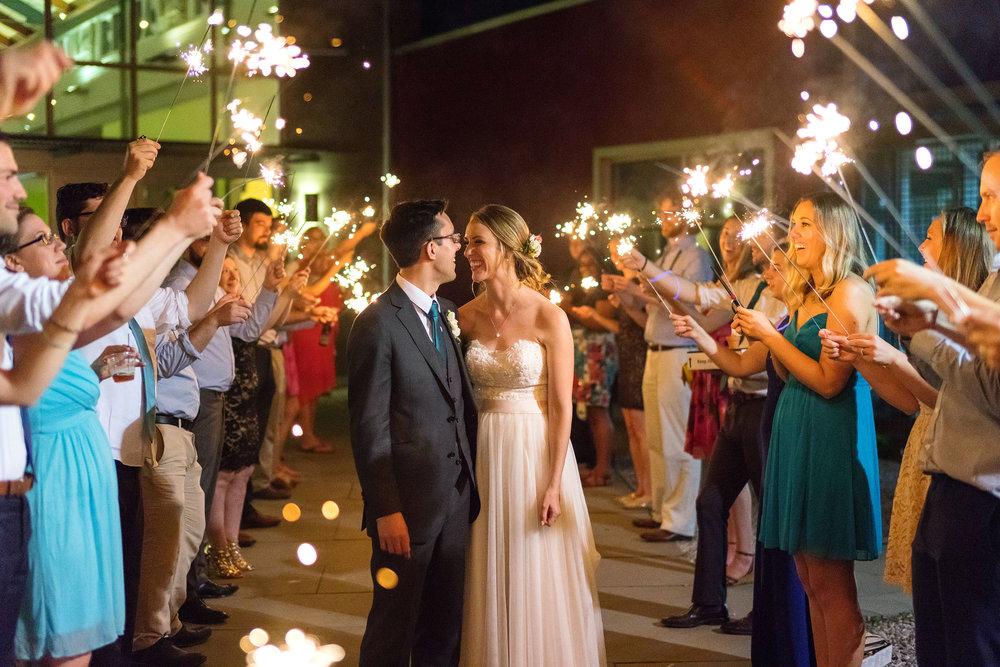 Beautiful sparkler exit at Irvine Nature Center summer wedding