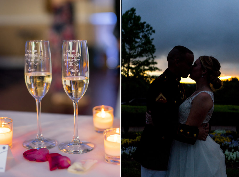 Night time silhouette of bride and groom at Piedmont Golf Club