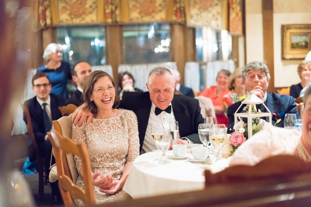 Bride's parents laughing during the toast at La Ferme in bethesda Maryland