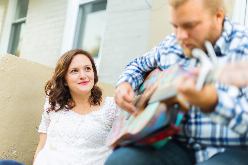 H street engagement session with guitar in DC