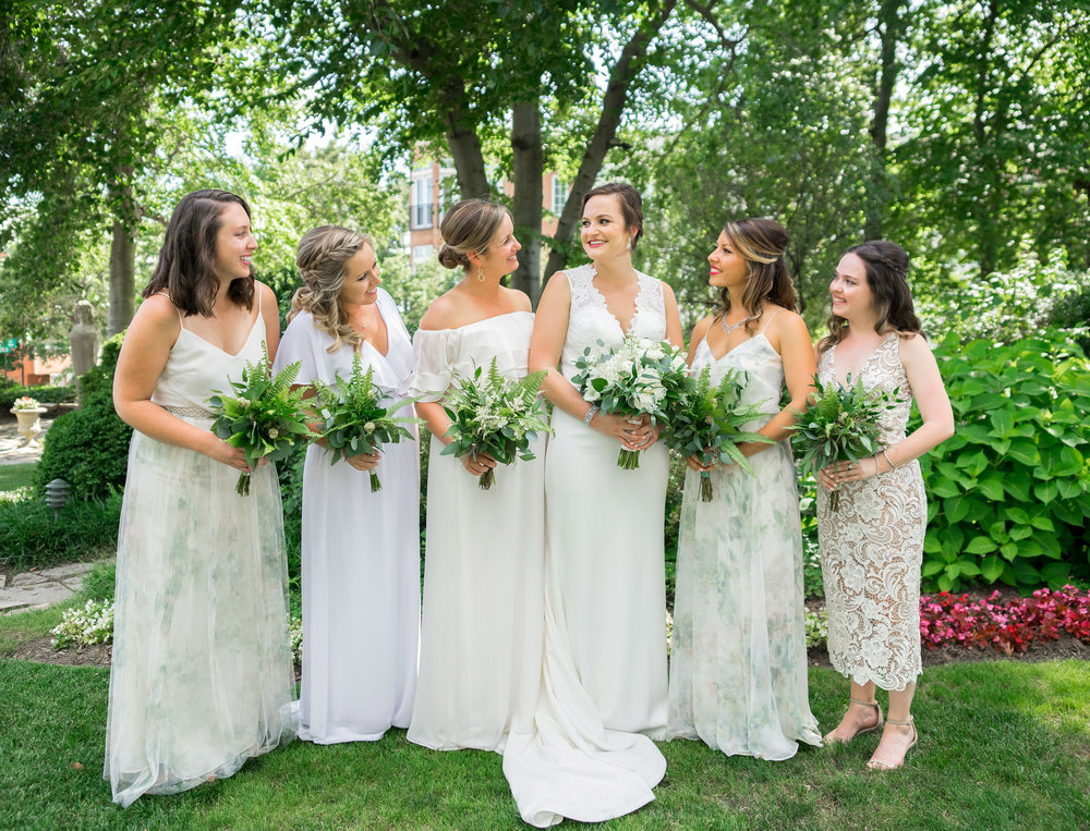 Bhldn mix match dresses at Meridian House wedding