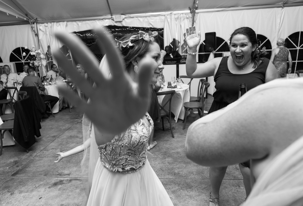 Bride on the dance floor at summer wedding at Glen Ellen Farm