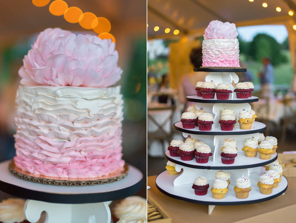 Awesome cupcake tower with peony on top and cake topper