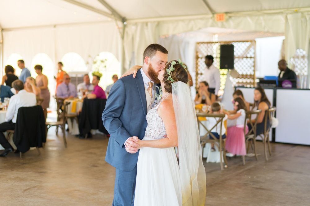 First dance wedding photos at summer maryland venue