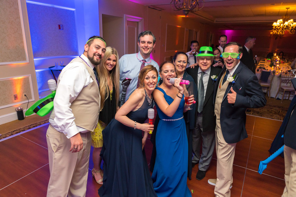 Wedding group photo on the dance floor at Rockville Manor Country Club
