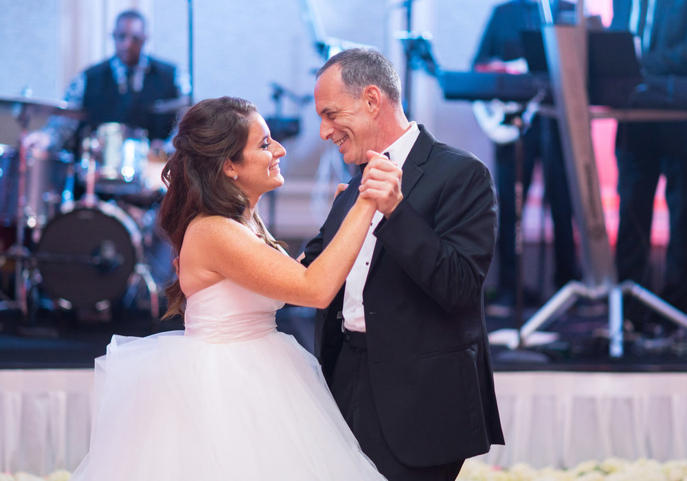 Bride first dance with dad in Hayley Paige Londyn dress