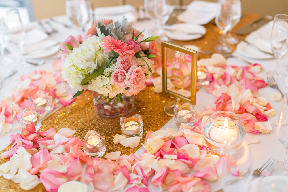 Pink and gold table decor at 2941 Restaurant