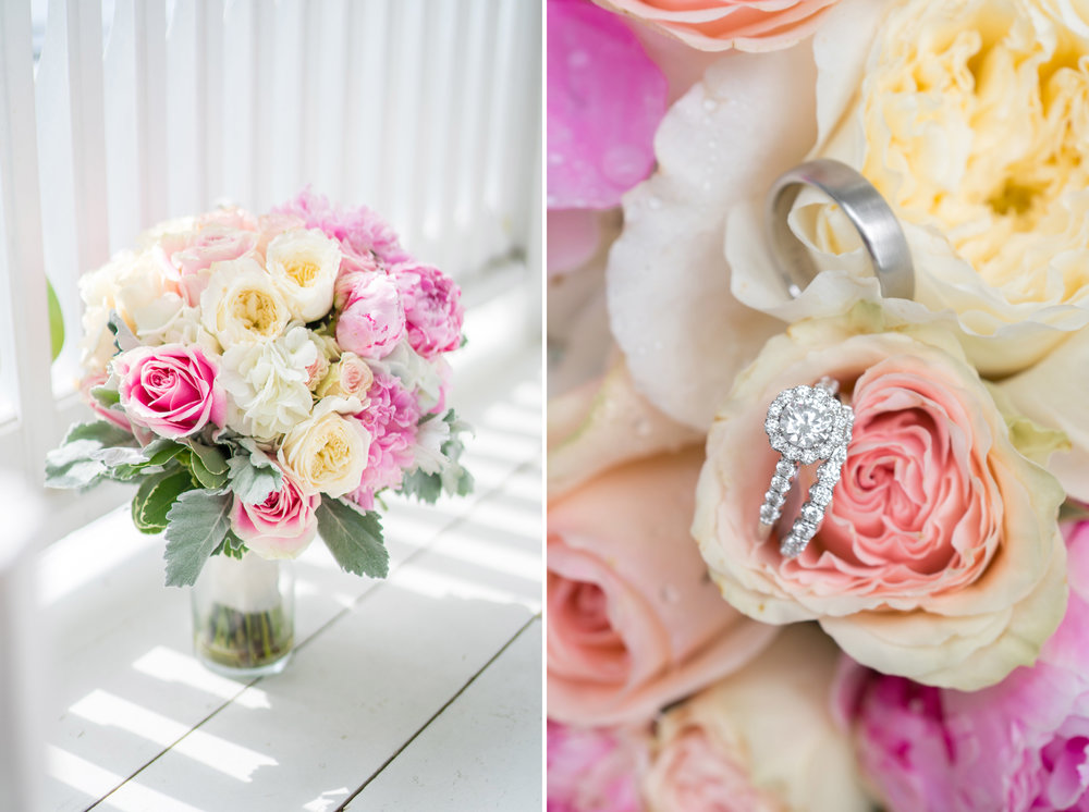 stunning rose bouquet and wedding ring at fort belvoir