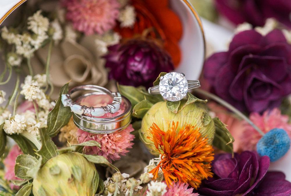 Vintage 5 carat ring at Kentlands Mansion wedding