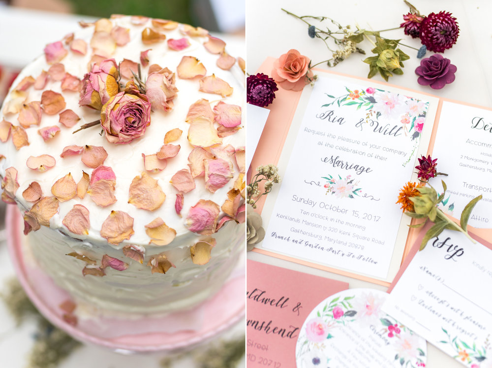 DIY wedding cake and invitations photography