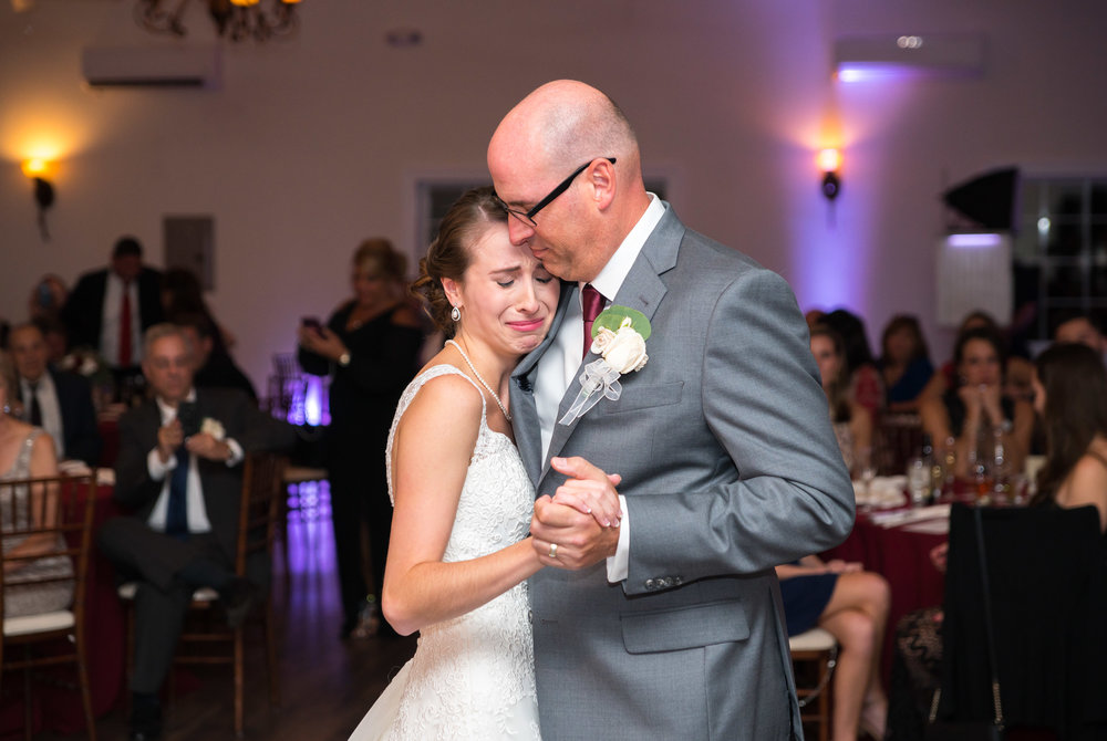 Emotional Father daughter dance at the wedding reception
