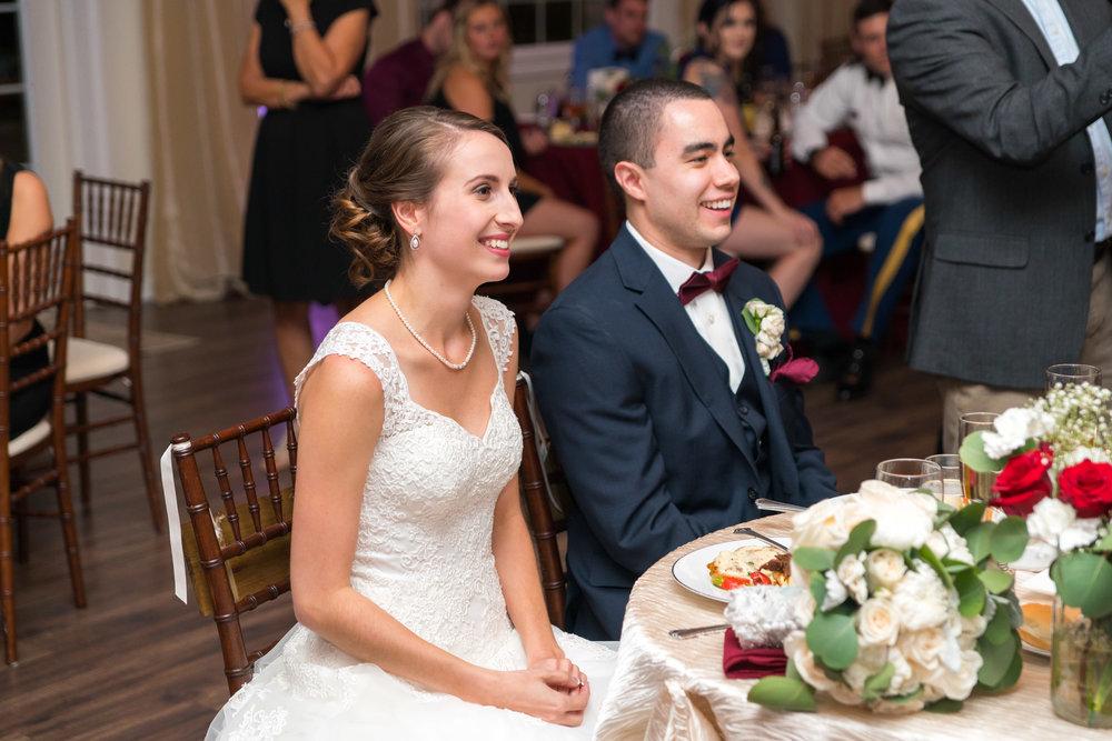 Bride and groom wedding reception at Lost Creek Vineyard winery