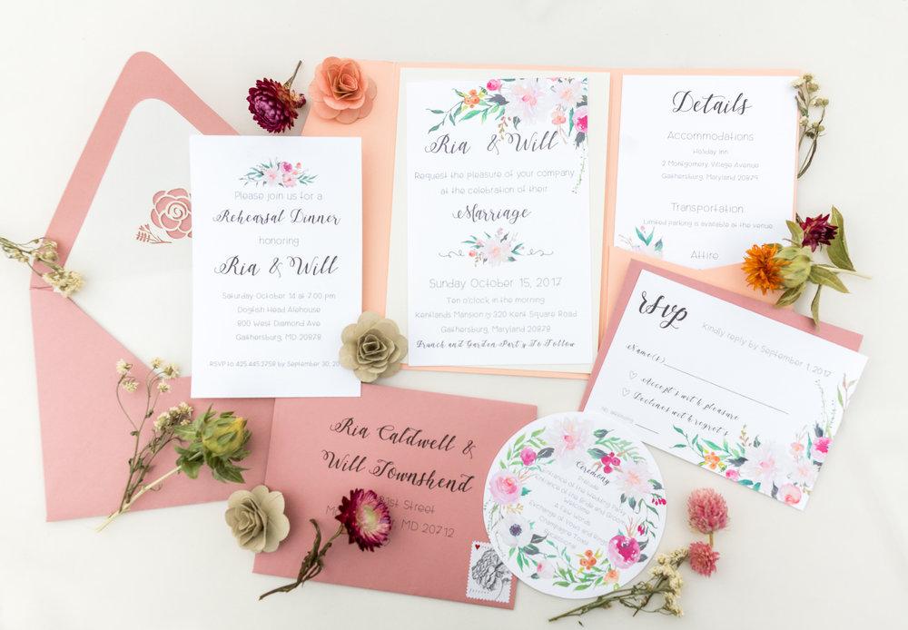 DIY invitation suite in Gaithersburg wedding