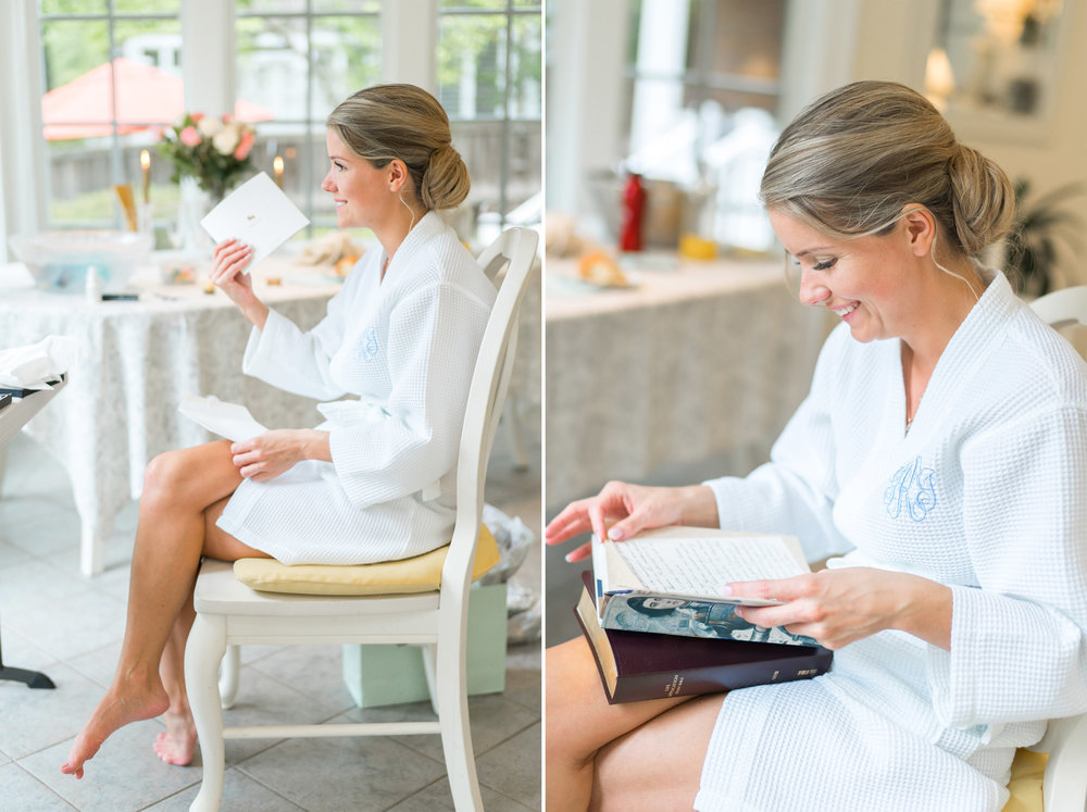 Bethesda Maryland bride reads a card from her husband wedding photos by jessica nazarova
