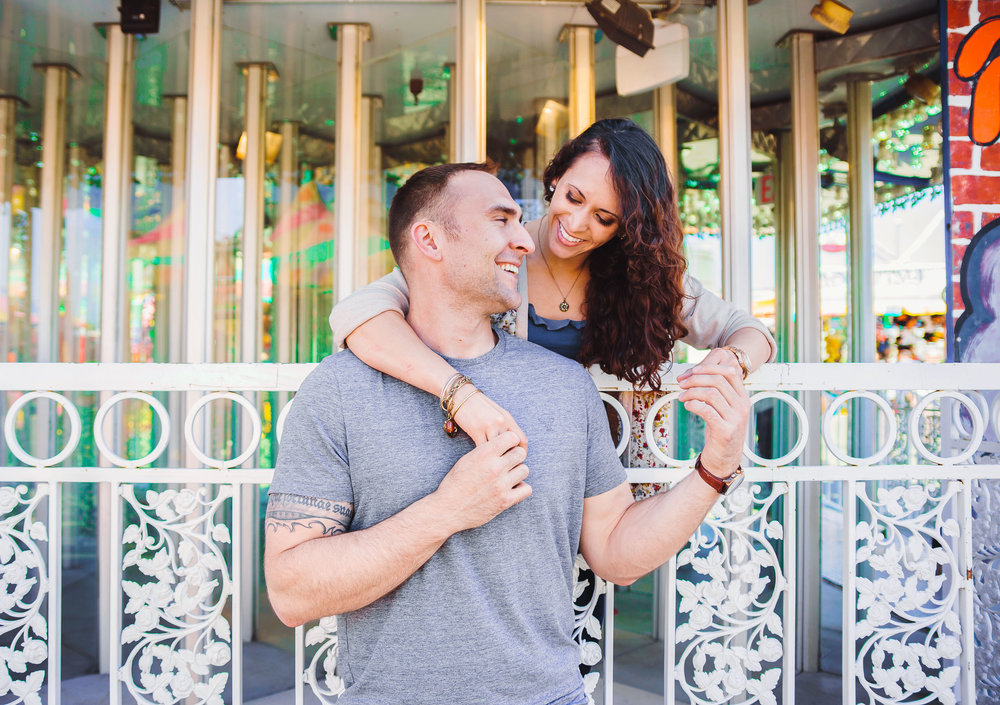 Summer Virginia carnival engagement session photos by Jessica Nazarova