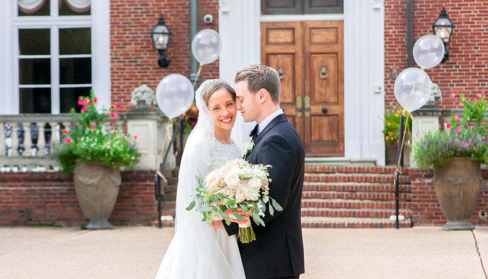 Oxon Hill Manor wedding photos with bride and groom