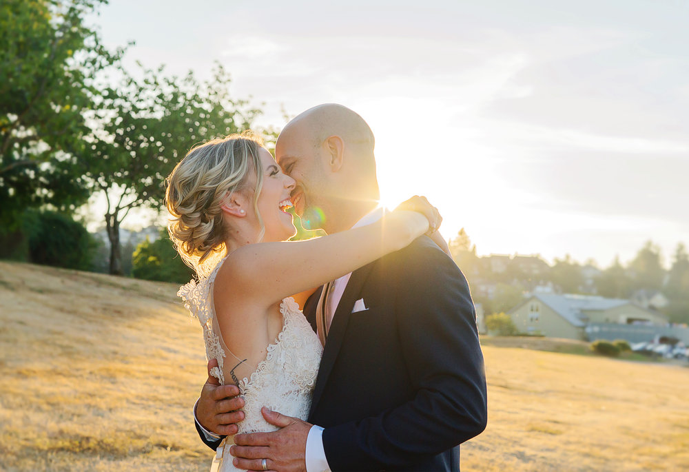 Golden Hour Bride and Groom Portrait at Seattle Wedding by Jessica Nazarova