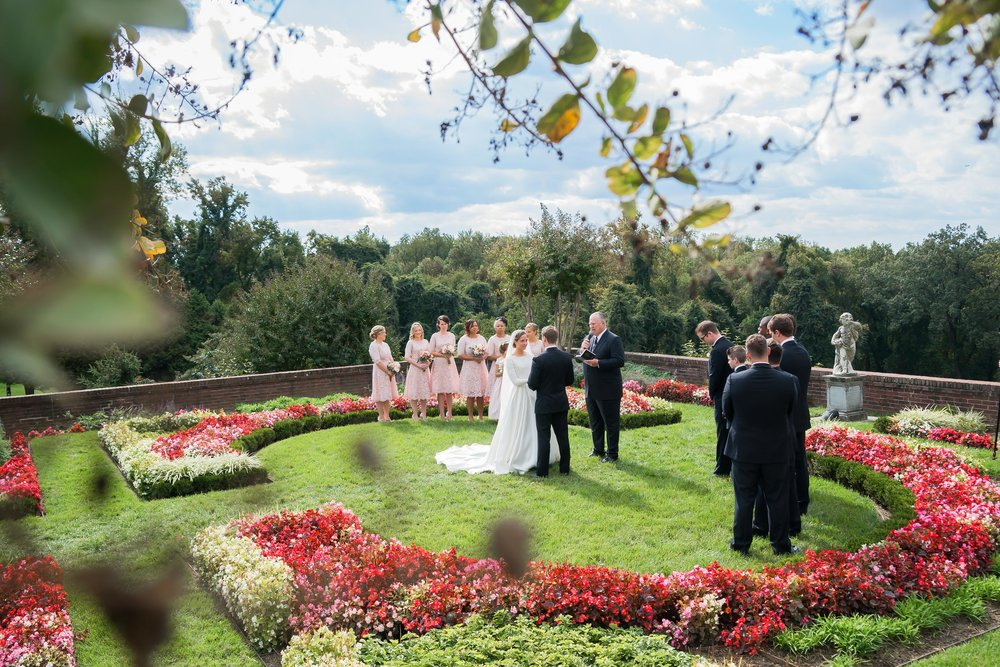 Outdoor garden wedding ceremony at Oxon Hill Manor