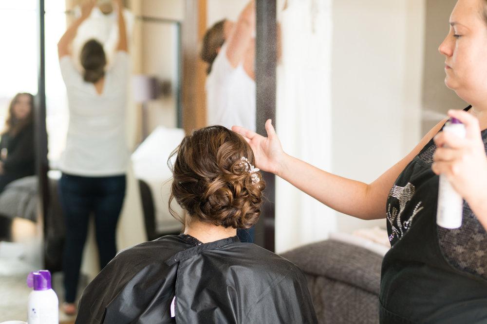 Bride getting ready at Dupont Circle Hotel
