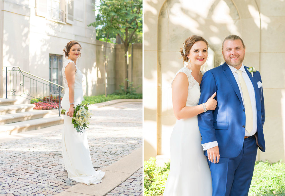 Wedding photos on cobblestone courtyard in front of meridian house