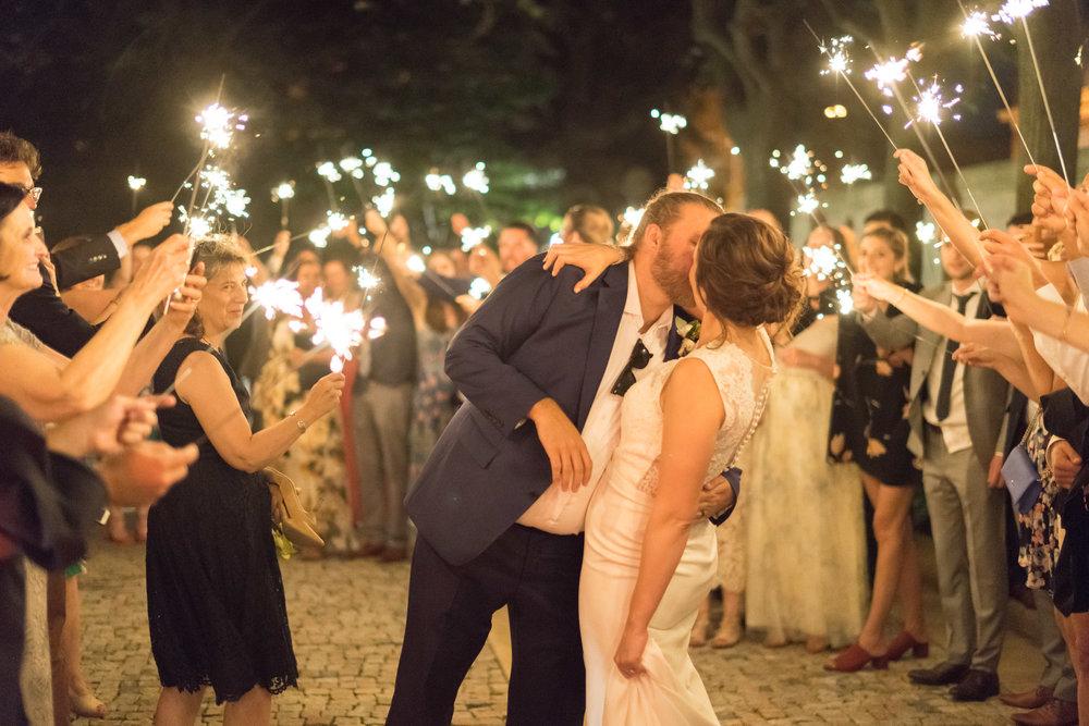 Sparkler exit at Meridian house wedding venue