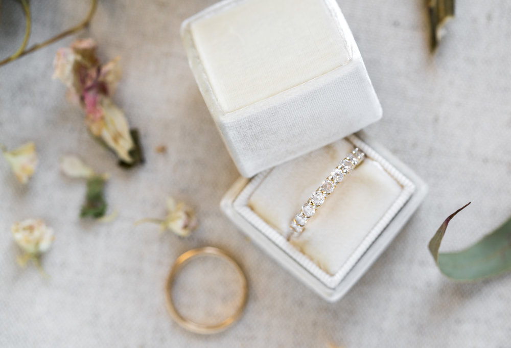 The Mrs Box ivory Margaery single ring box and Heirloom Bindery styling board by jessica nazarova